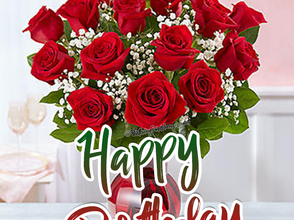 Happy Birthday Wishes with red Rose image