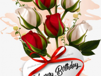 Birthday card with Red Roses images